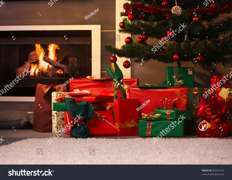Still life photo presents christmas tree stock