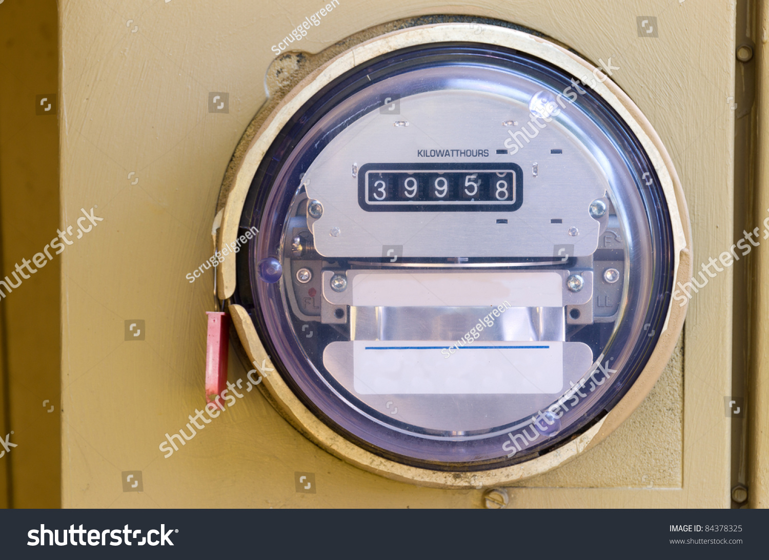Electronic Meter Reading Device : Electric power meter reading energy usage stock photo