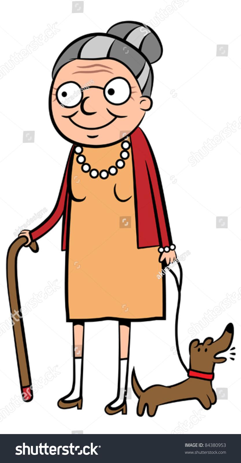 happy old cartoon woman walking her stock photo photo vector rh shutterstock com cartoon old woman in the shoe cartoon old woman in the shoe