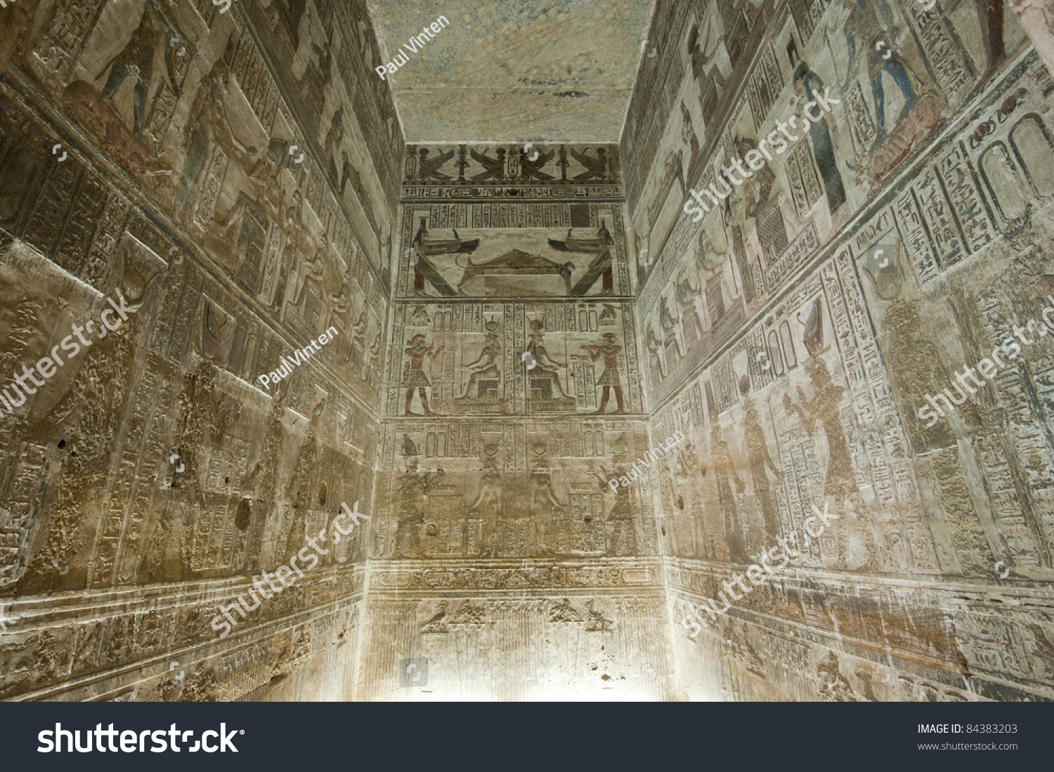 Ancient Egyptian Interior Architecture hieroglyphic carvings paintings on interior walls stock photo