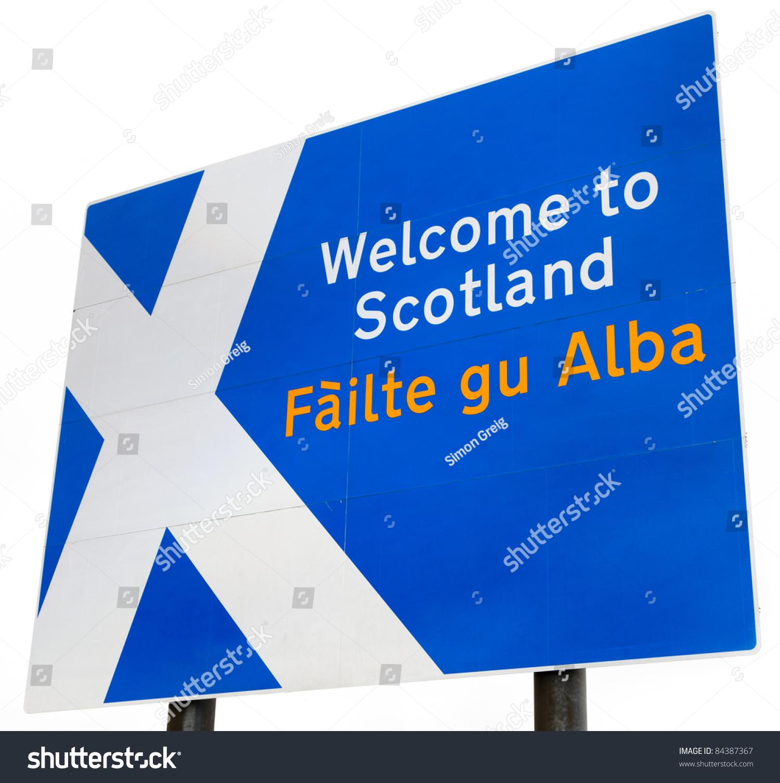 sign on border crossing scotland england stock photo 84387367