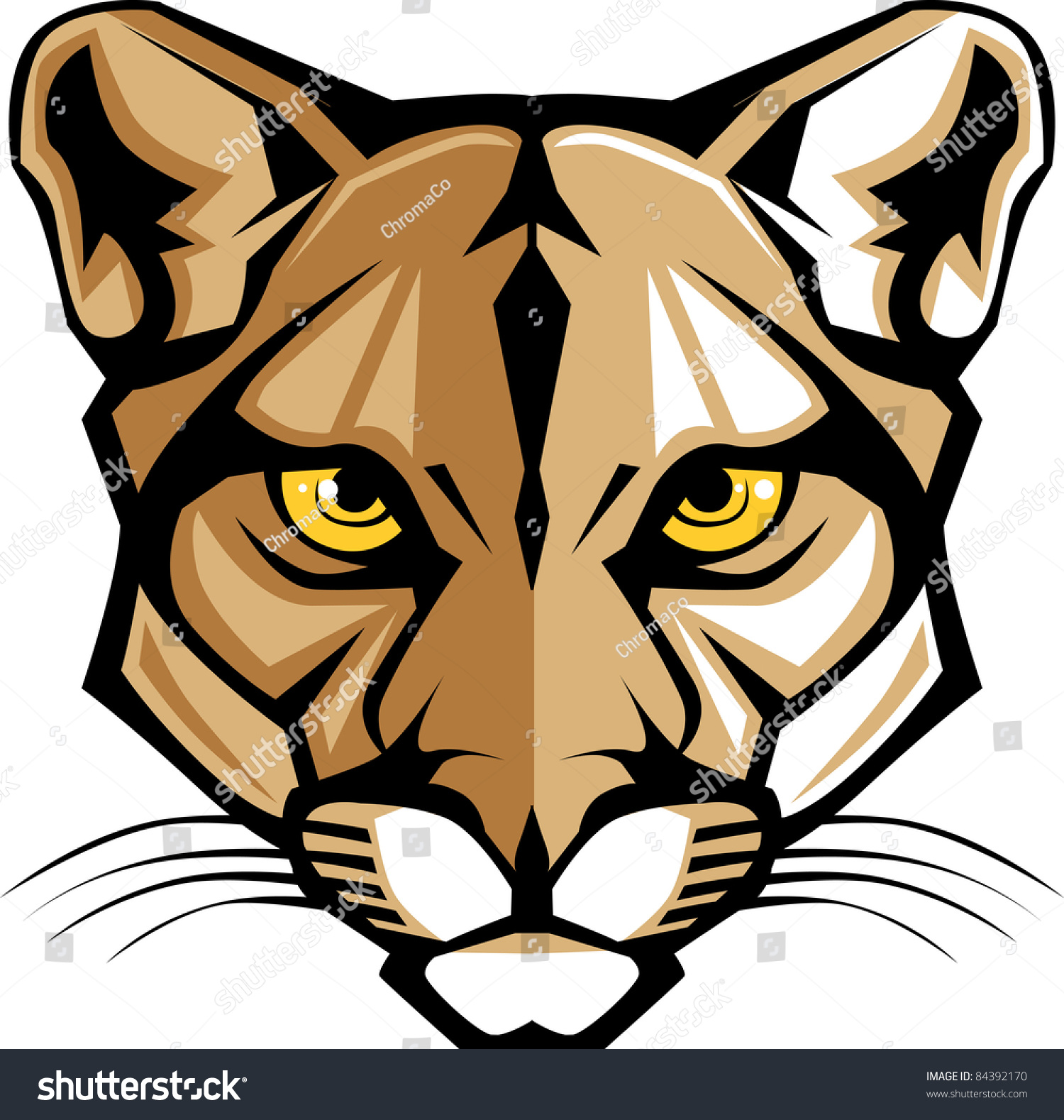 Growling Panther Face Stock Vector 585261455: Cougar Panther Mascot Head Vector Graphic Stock Vector
