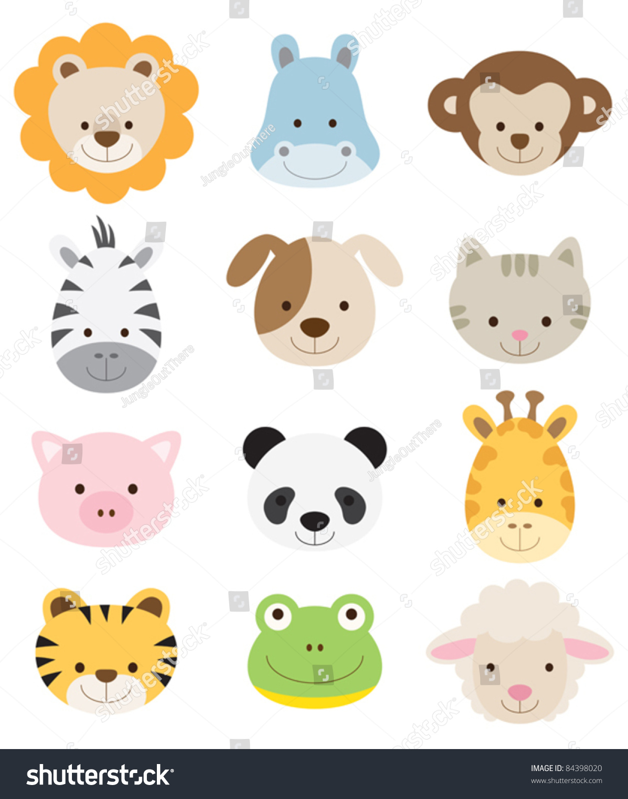 Vector Illustration Animal Faces 84398020