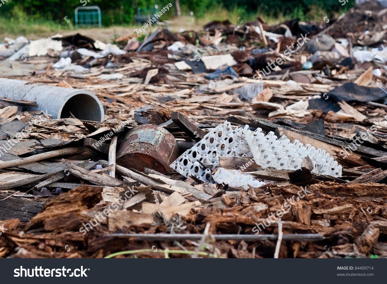 Pile Of Building Debris : A pile of debris destroyed building stock photo