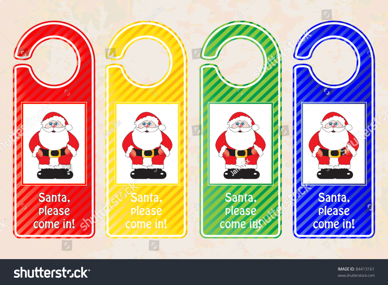 christmas door hangers christmas concept santa stock photo