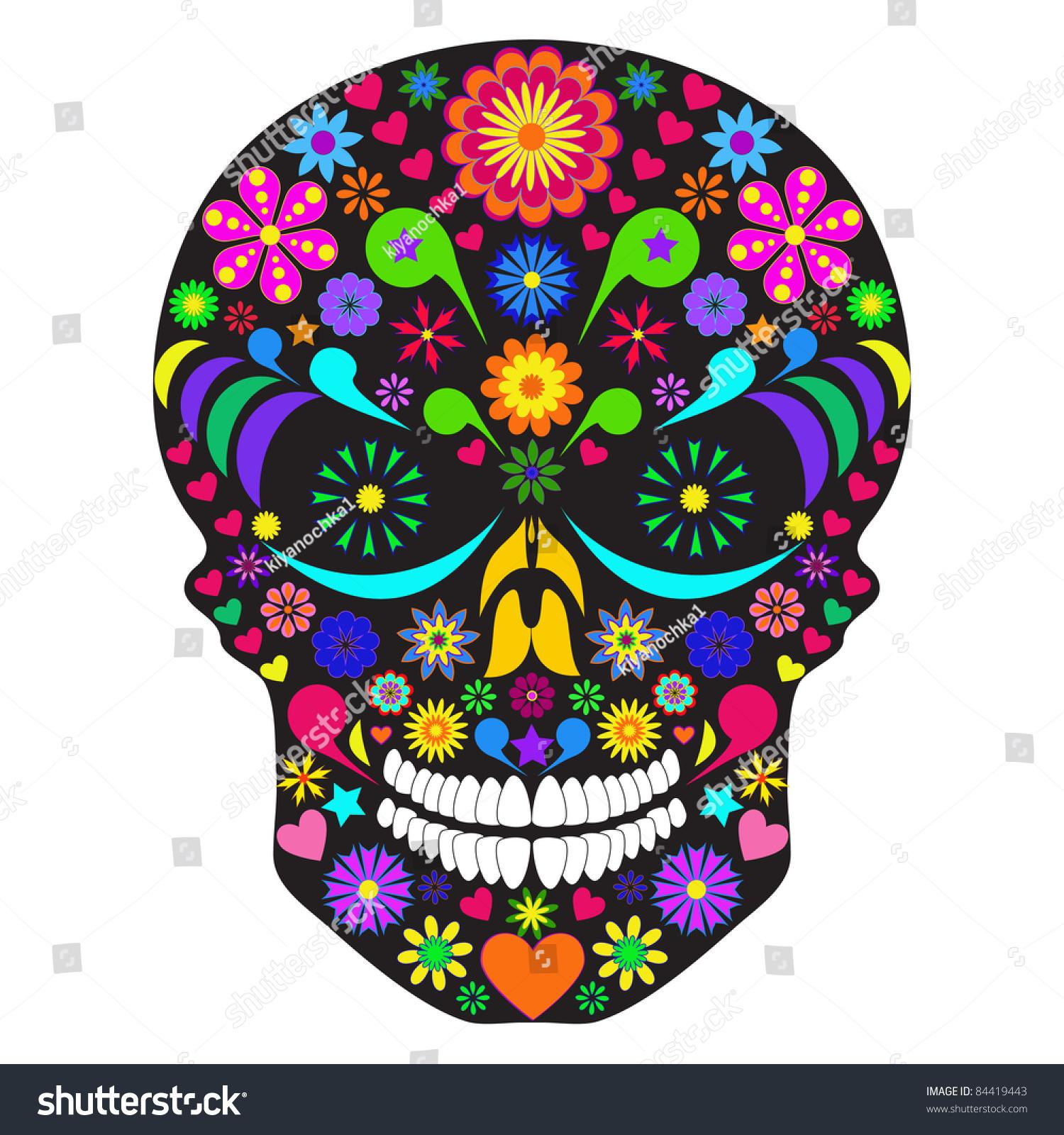Illustration Flower Skull Isolated White Background Shutt