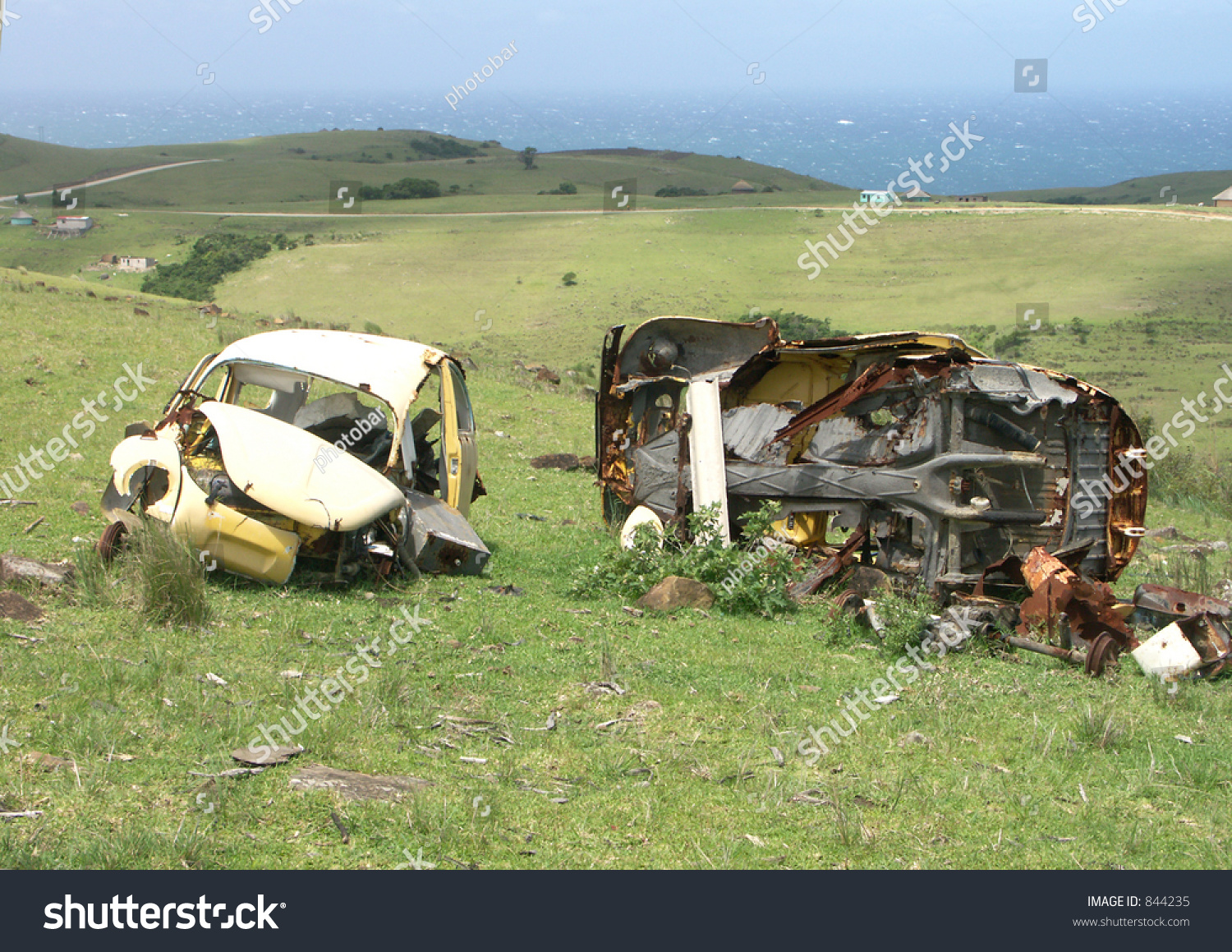 Old Car Wrecks Beside Road Misty Stock Photo & Image (Royalty-Free ...