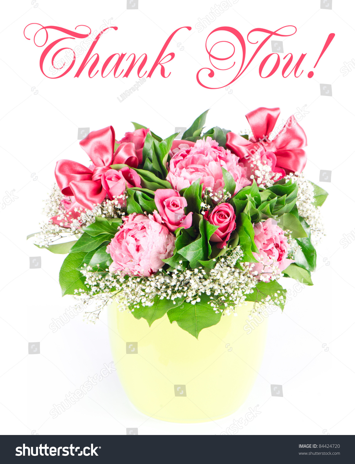 Thank you card concept colorful flowers stock photo royalty free thank you card concept colorful flowers bouquet with ribbon pink roses and peonies izmirmasajfo Images