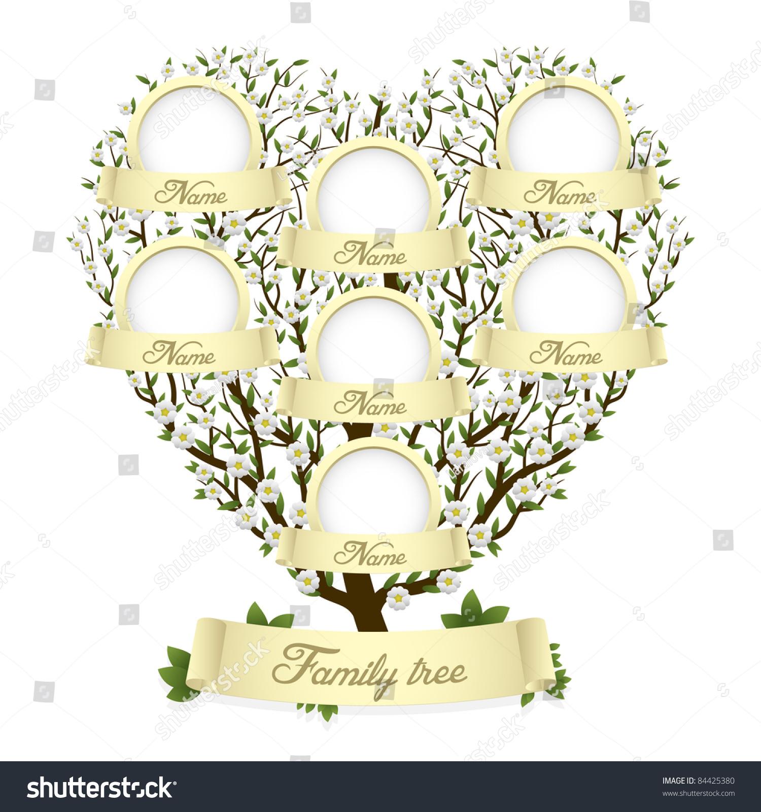 Family Tree Heart Shape Vector Illustration Stock Vector ...