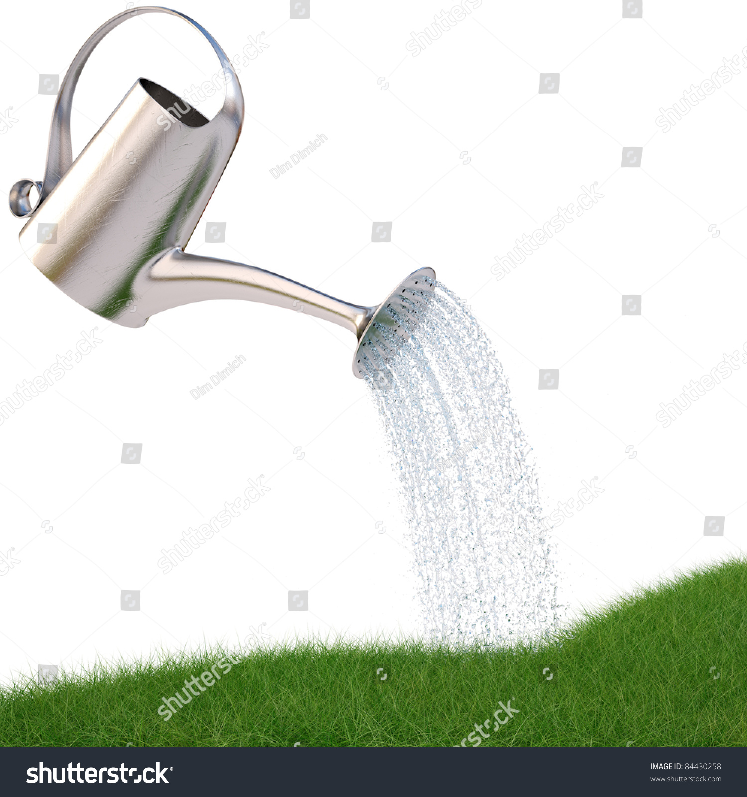 Watering Can Pouring Water On The Grass Isolated On White