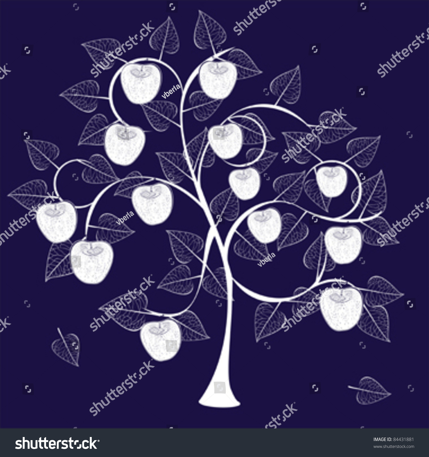 abstract apple tree silhouette with fruits