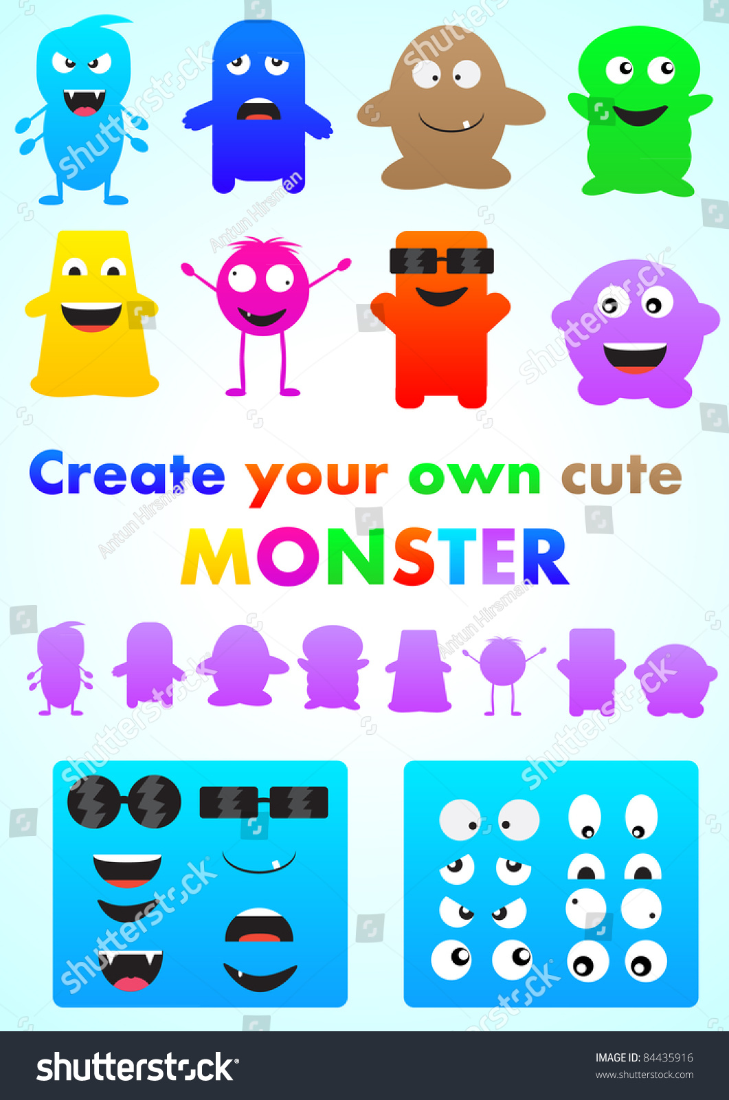 Set Cute Monsters Create Your Own Stock Vector 84435916