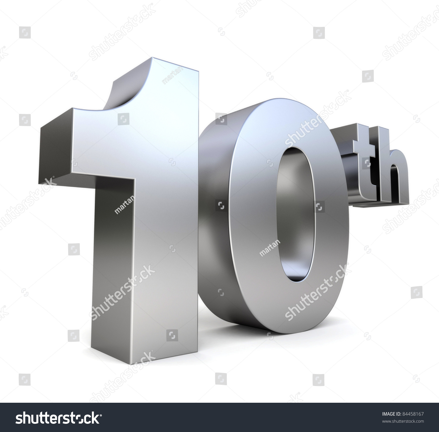 3d Metal Anniversary Number 10th Stock Illustration