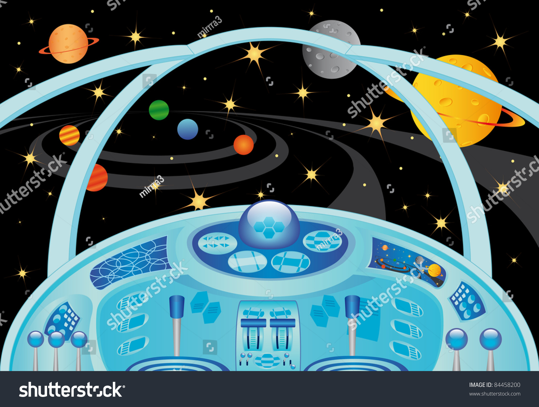 spaceship interior universe vector illustration stock vector