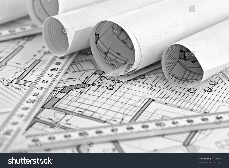 Rolls architecture blueprint house plane metric stock photo rolls of architecture blueprint house plane metric folding ruler malvernweather Image collections