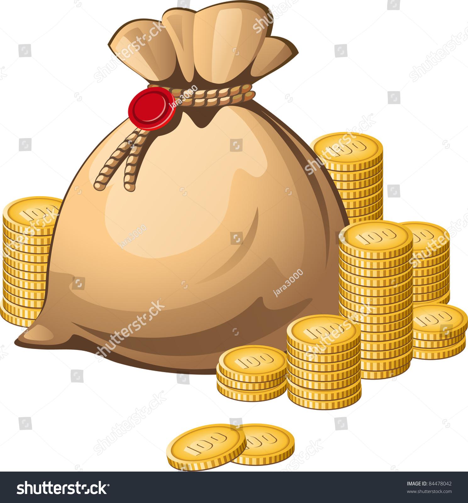 Money bag isolated over white stock vector 84478042 shutterstock