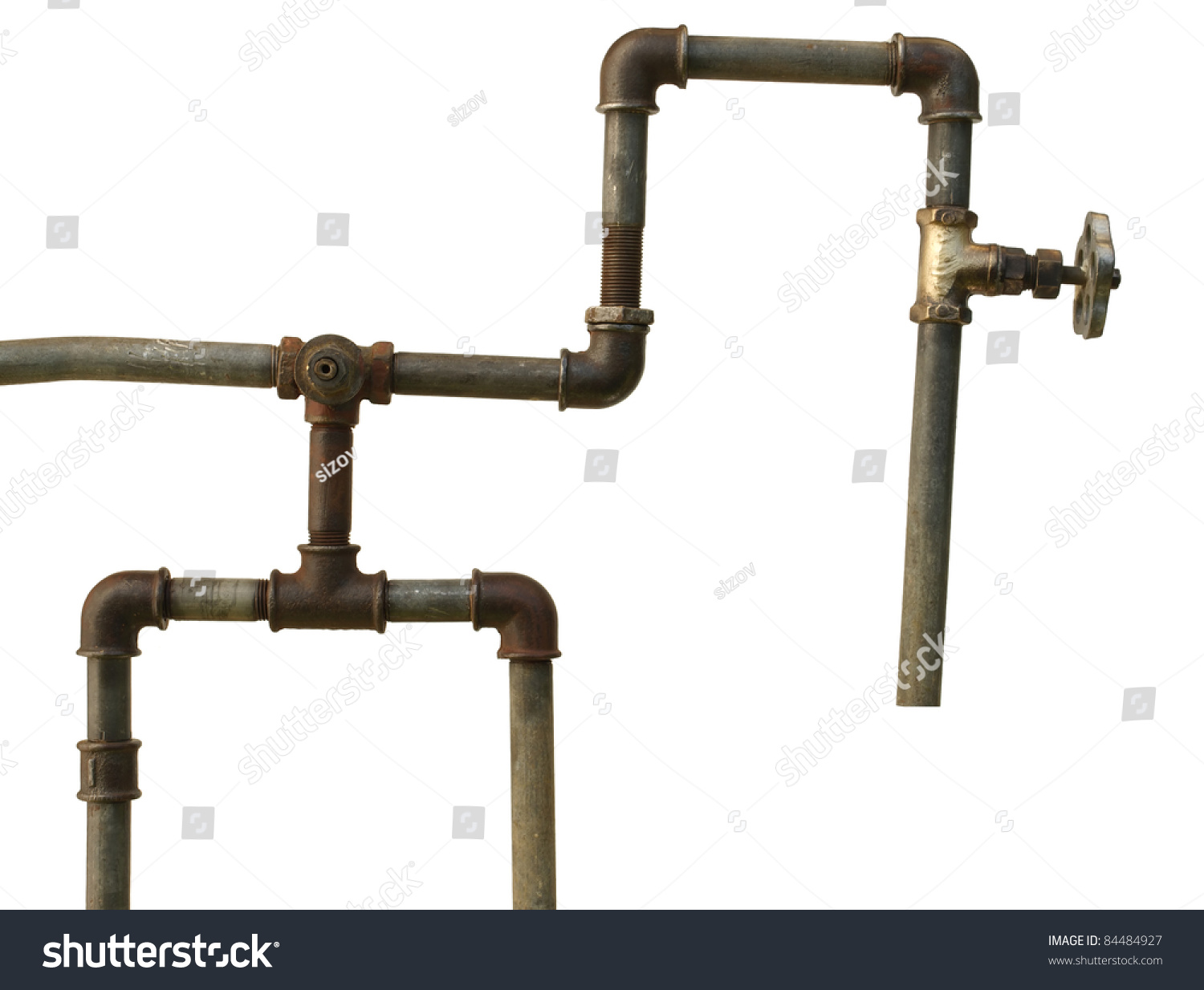 Fragment old water conduit consisting pipes stock photo for What are old plumbing pipes made of