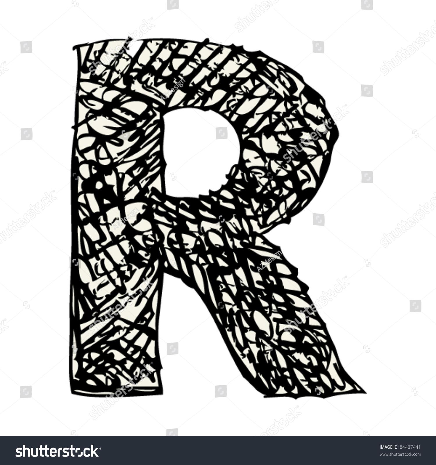 Scribble Alphabet Doodle Letter R 84487441