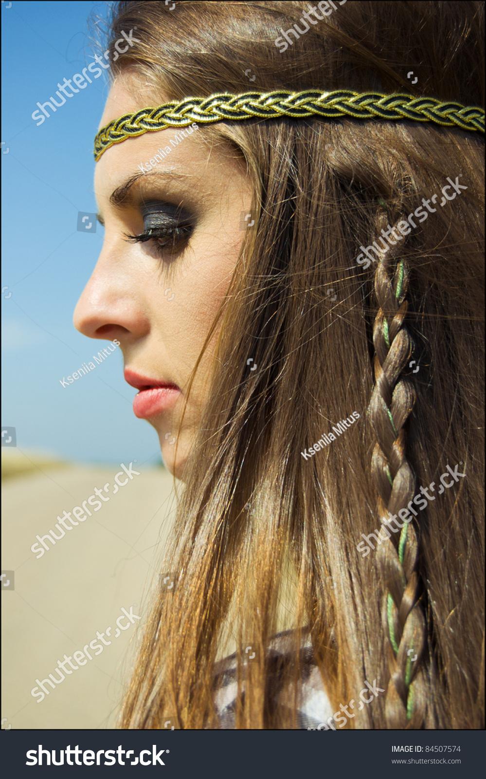 Beautiful young hippie woman nice makeup stock photo 84507574 ...