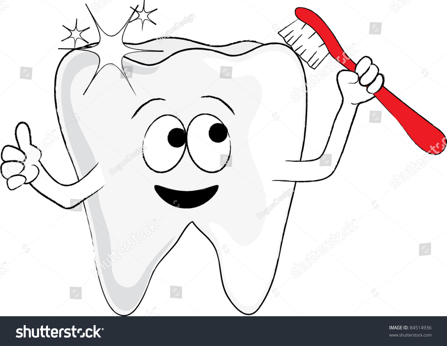 Clip Art Illustration Cartoon Tooth Holding Stock Illustration ...