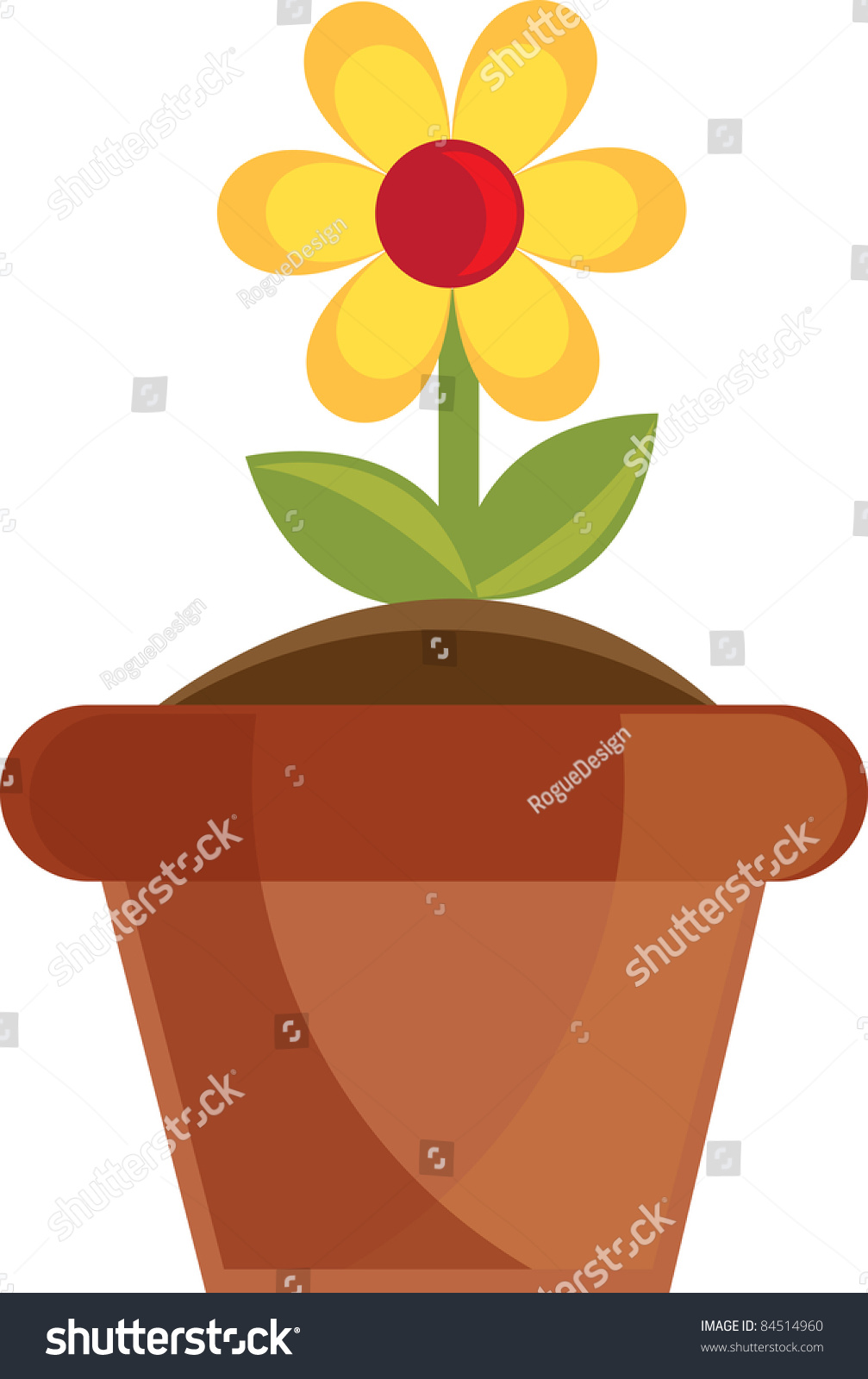Clip art illustration yellow daisy flower stock illustration clip art illustration of a yellow daisy flower growing in a terra cotta pot izmirmasajfo