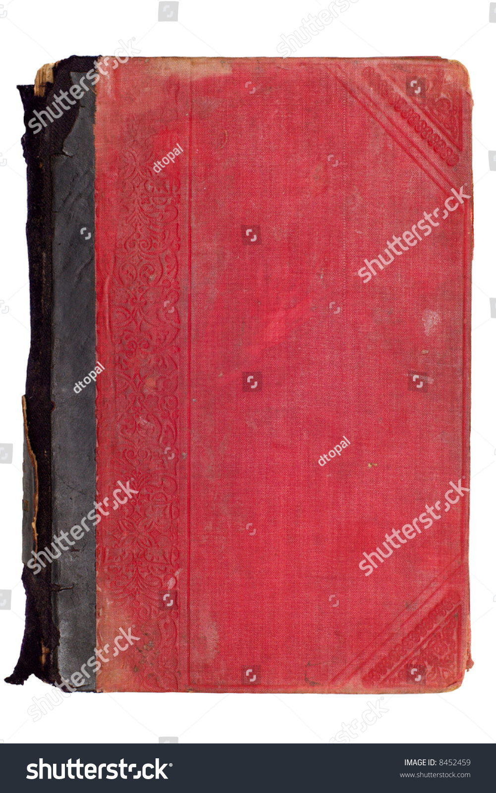 Old Red Book Cover ~ Old vintage red book cover isolated on white stock photo