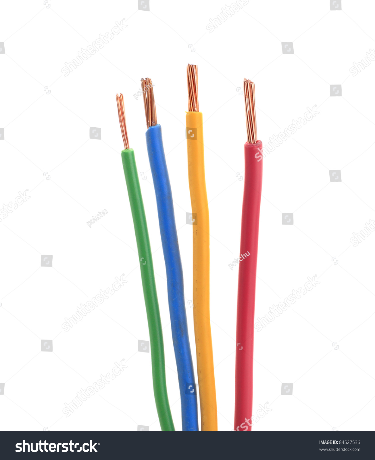 Four Electrical Wire Cable Color Green Stock Photo (Royalty Free ...