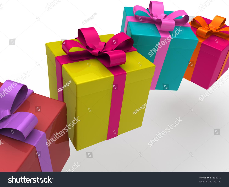 3d Gift Box Present Christmas Ribbon Birthday