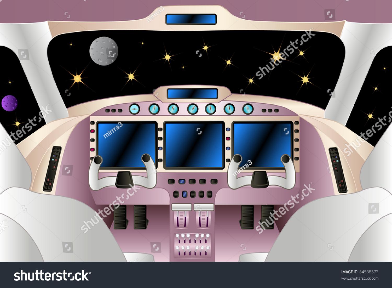 Spaceship Interior Universe Vector Illustration Stock