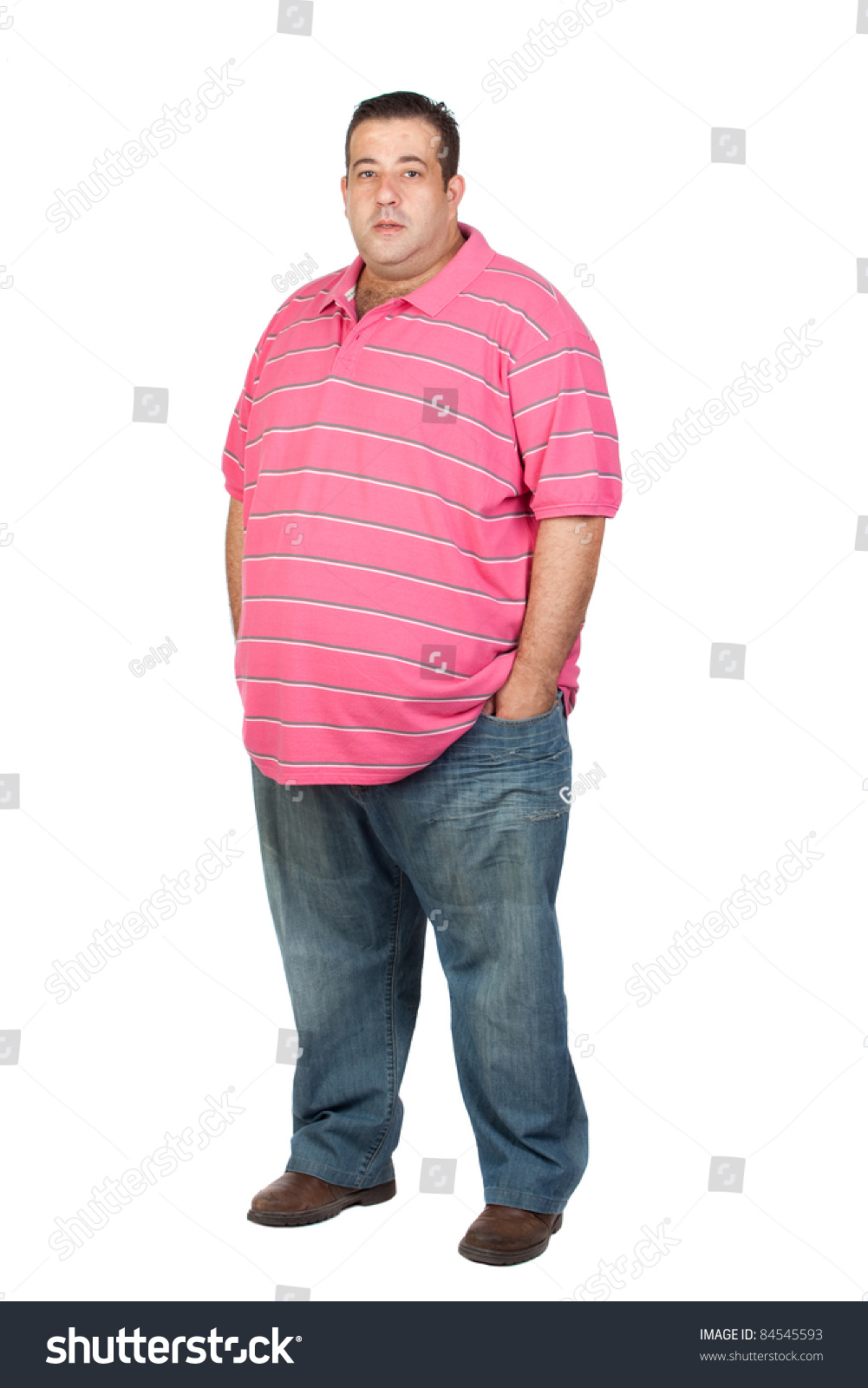 Fat Man Pink Shirt Isolated On Stock Photo 84545593 - Shutterstock