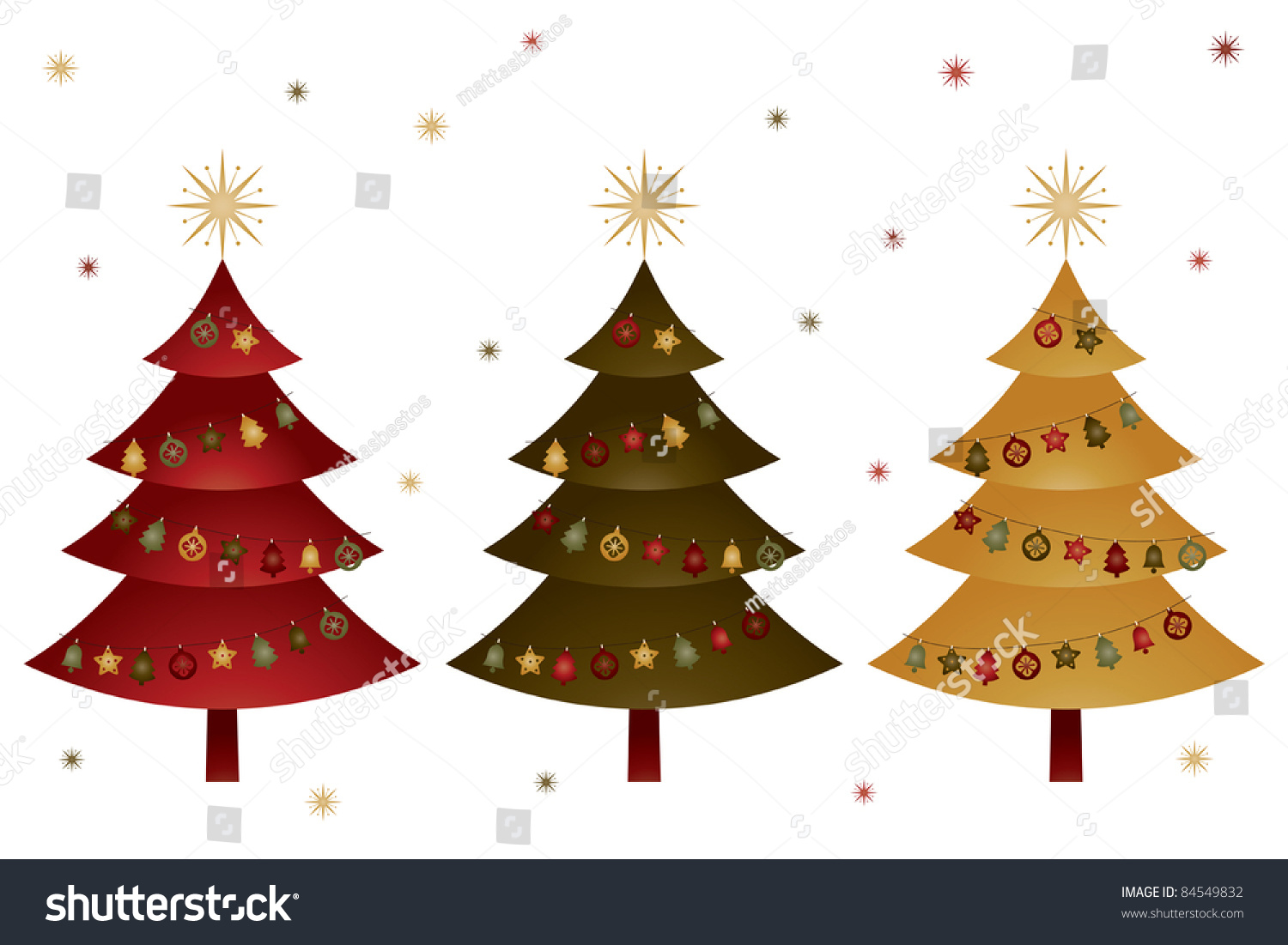 Red green and yellow christmas trees with decorations for Red and yellow christmas tree