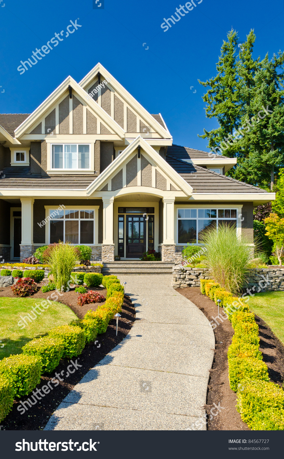Magnificent Nice Entrance Luxury House Over Blue Stock Photo 84567727 Largest Home Design Picture Inspirations Pitcheantrous