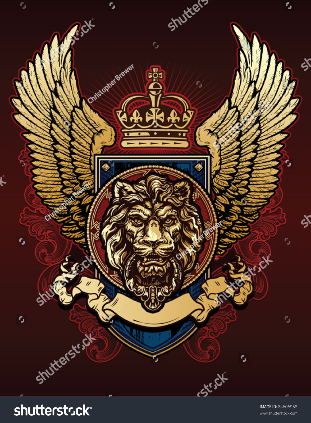 lion wing shield stock vector 84606958