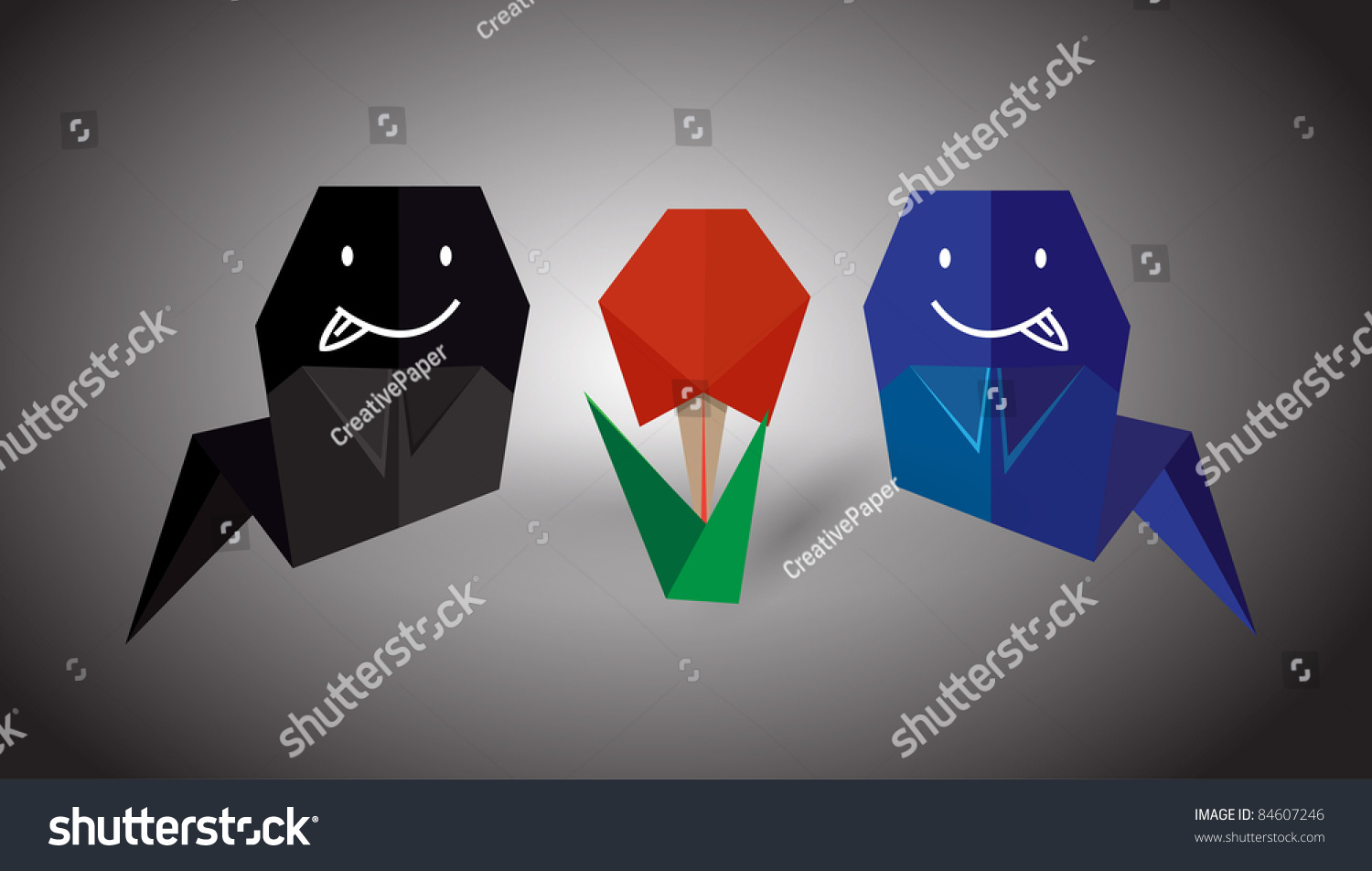 Vector origami ghost flower stock vector 84607246 shutterstock vector origami ghost and flower jeuxipadfo Choice Image