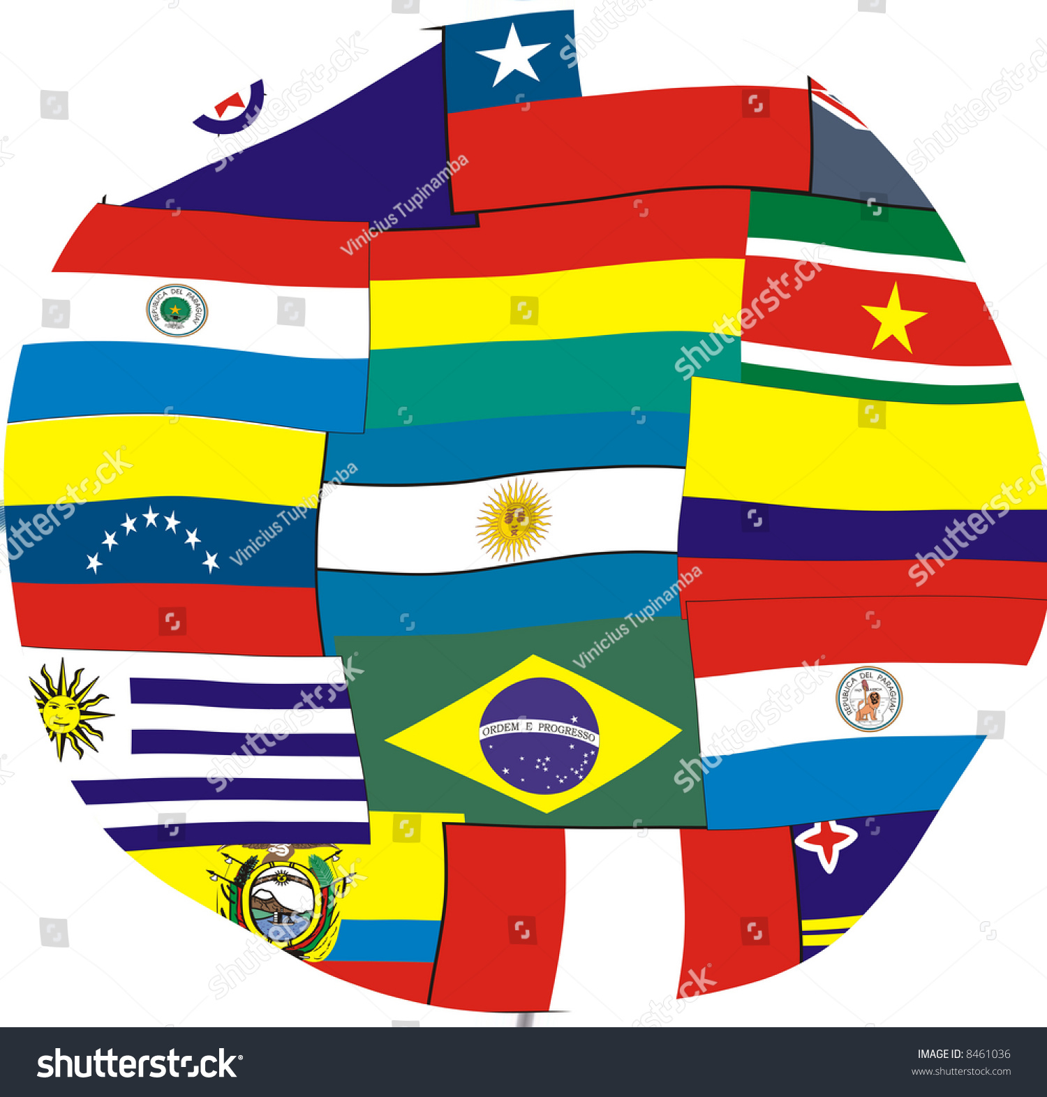 South America Flags Circle Stock Photo Edit Now 8461036