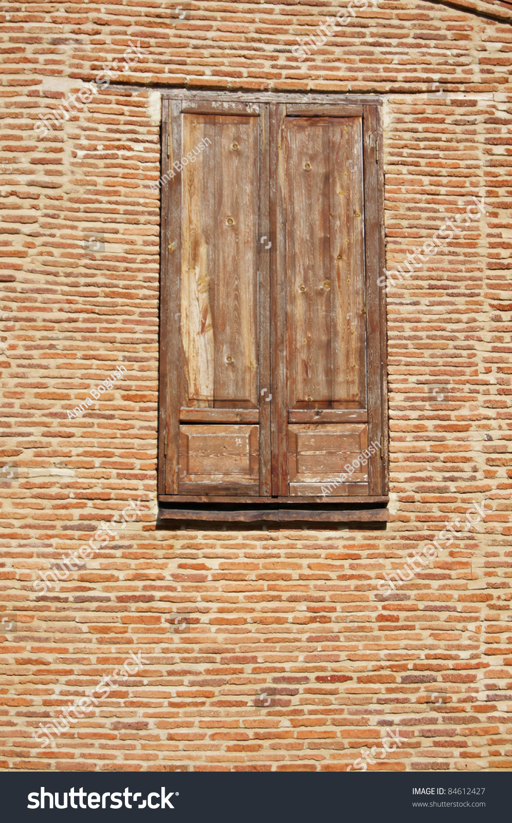 Closed Window Frame : Closed wooden shutters window frame very stock photo