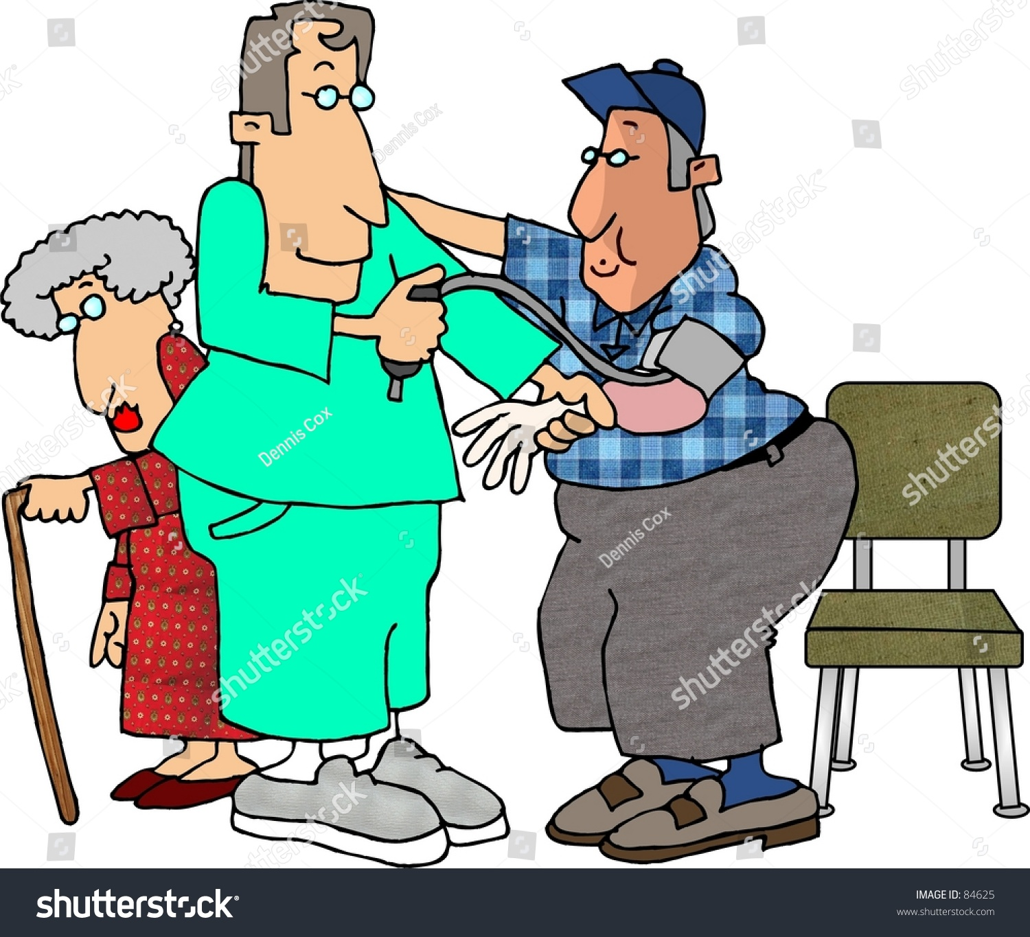 Clipart Illustration Of A Male Nurse Checking A Man'S Blood ...