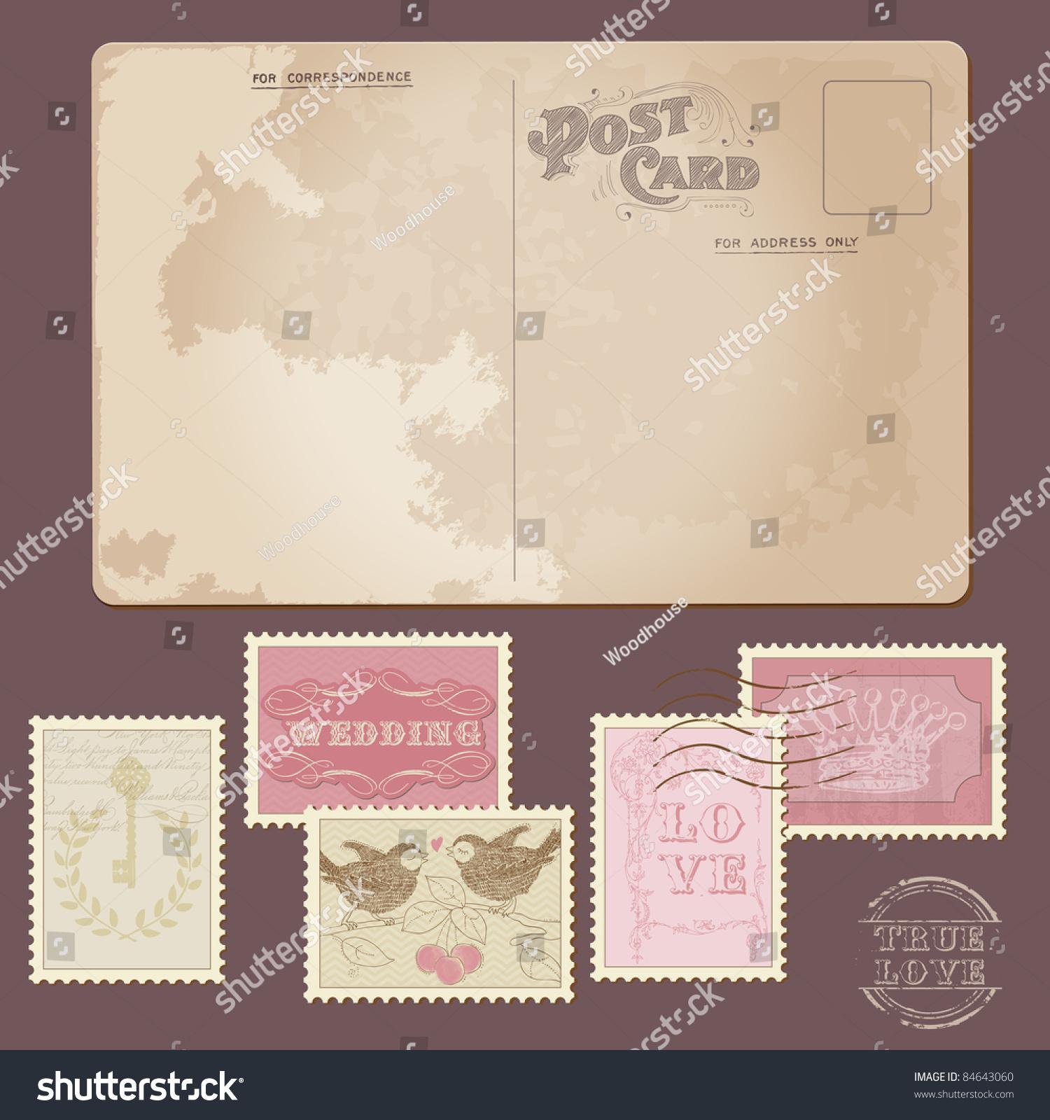 Old Postcard Wedding Postage Stamps Design Stock Vector