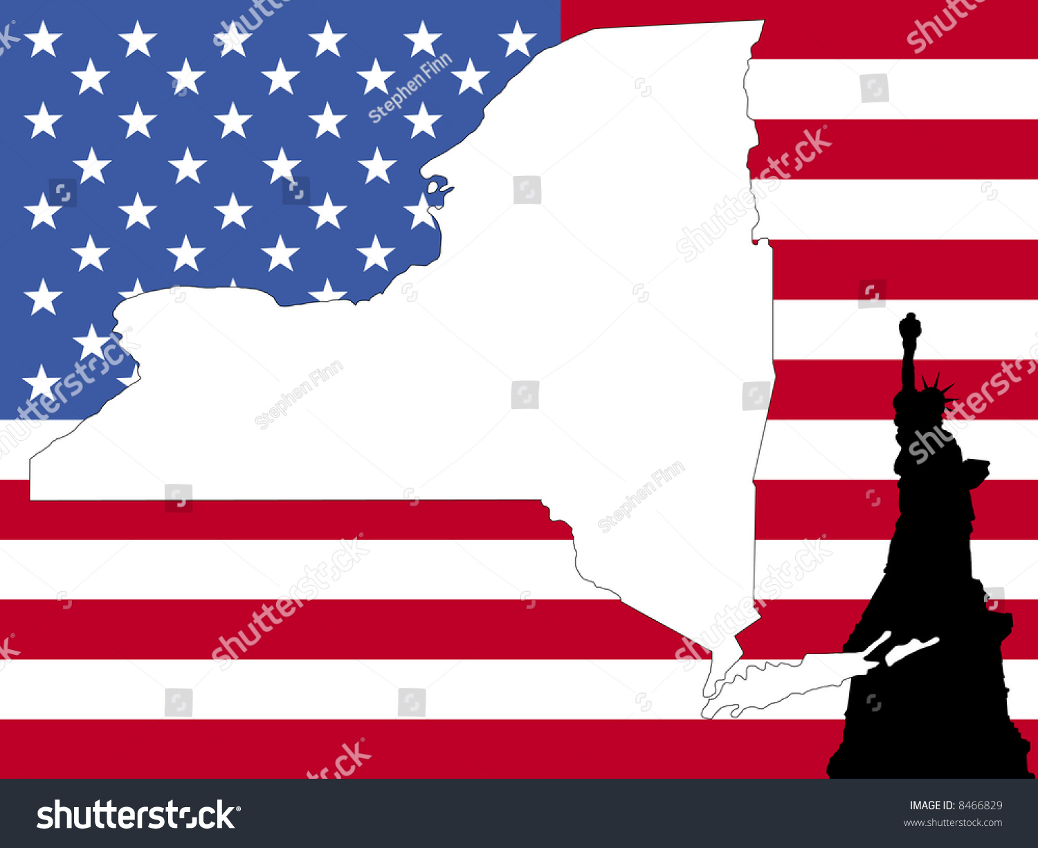 Map New York On American Flag Stock Illustration - Us states map new york