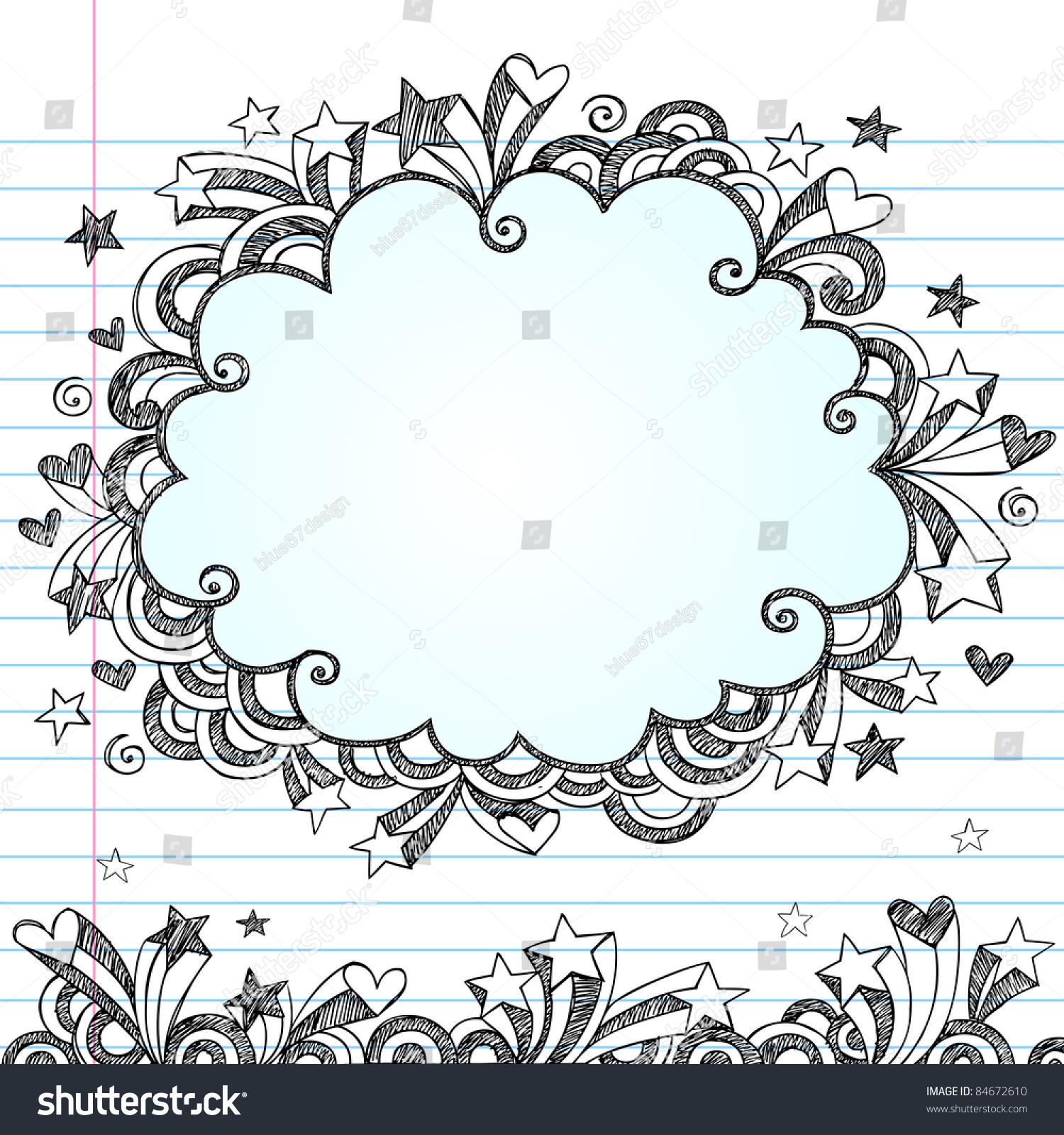 cloud frame sketchy doodle hand drawn notebook doodles design elements on lined sketchbook paper
