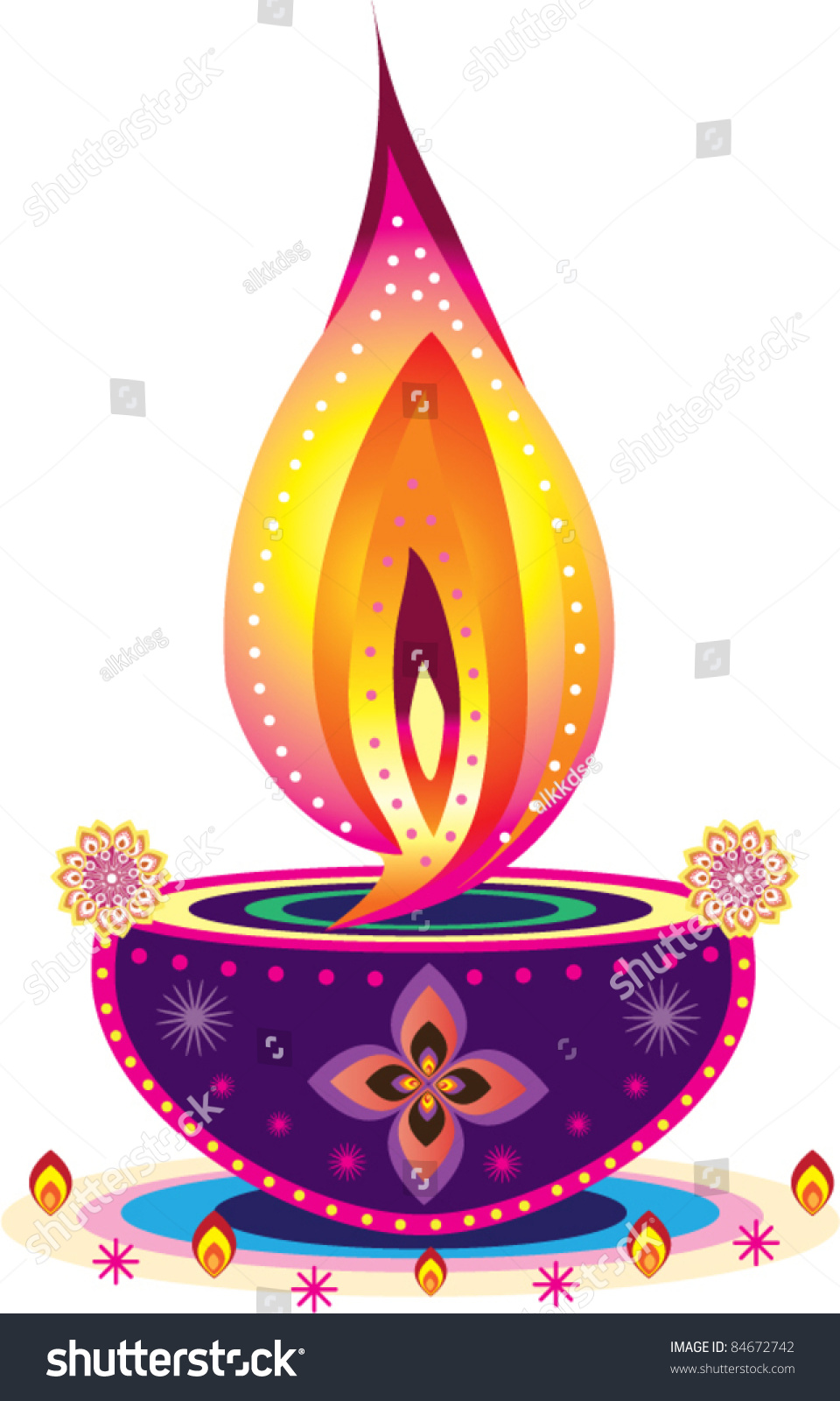 Indian oil lamp pattern stock vector 84672742 shutterstock for Agal vilakku decoration