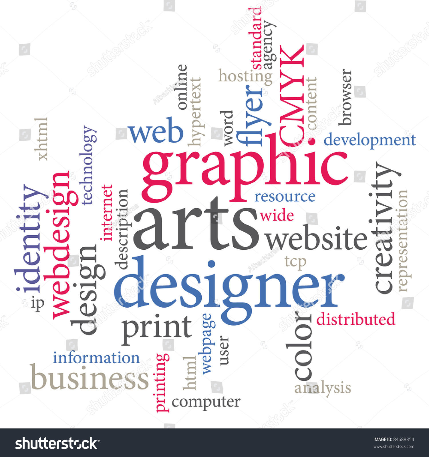 Graphic designer trendy print concept word cloud stock photo 84688354 shutterstock for Microsoft word graphic design