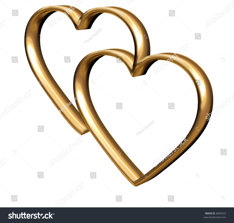 golden 3d hearts symbol everlasting love stock