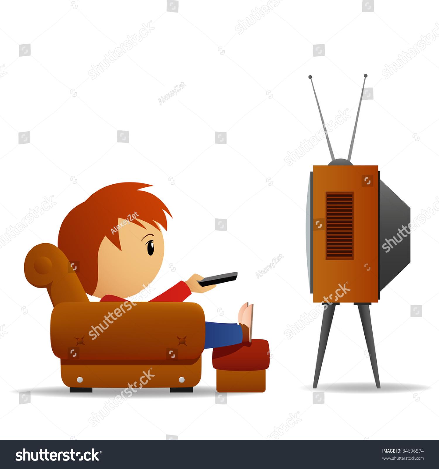 Cartoon Man Remote Watch Tv Armchair Stock Vector 84696574