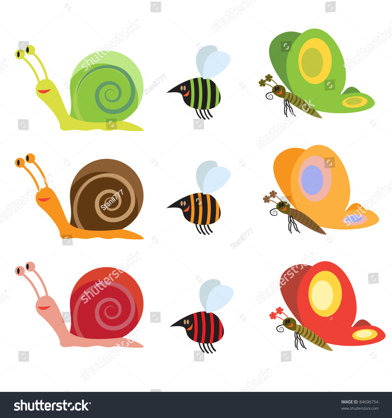 Garden Animals Stock Vector Illustration 84696754 Shutterstock
