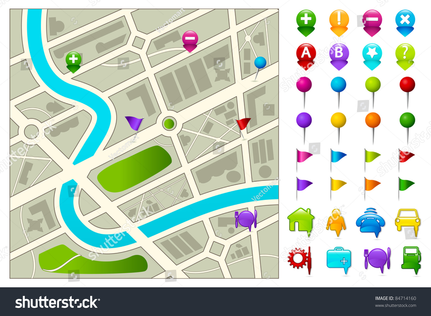 Illustration Of Road Map With Gps Icon Set On White