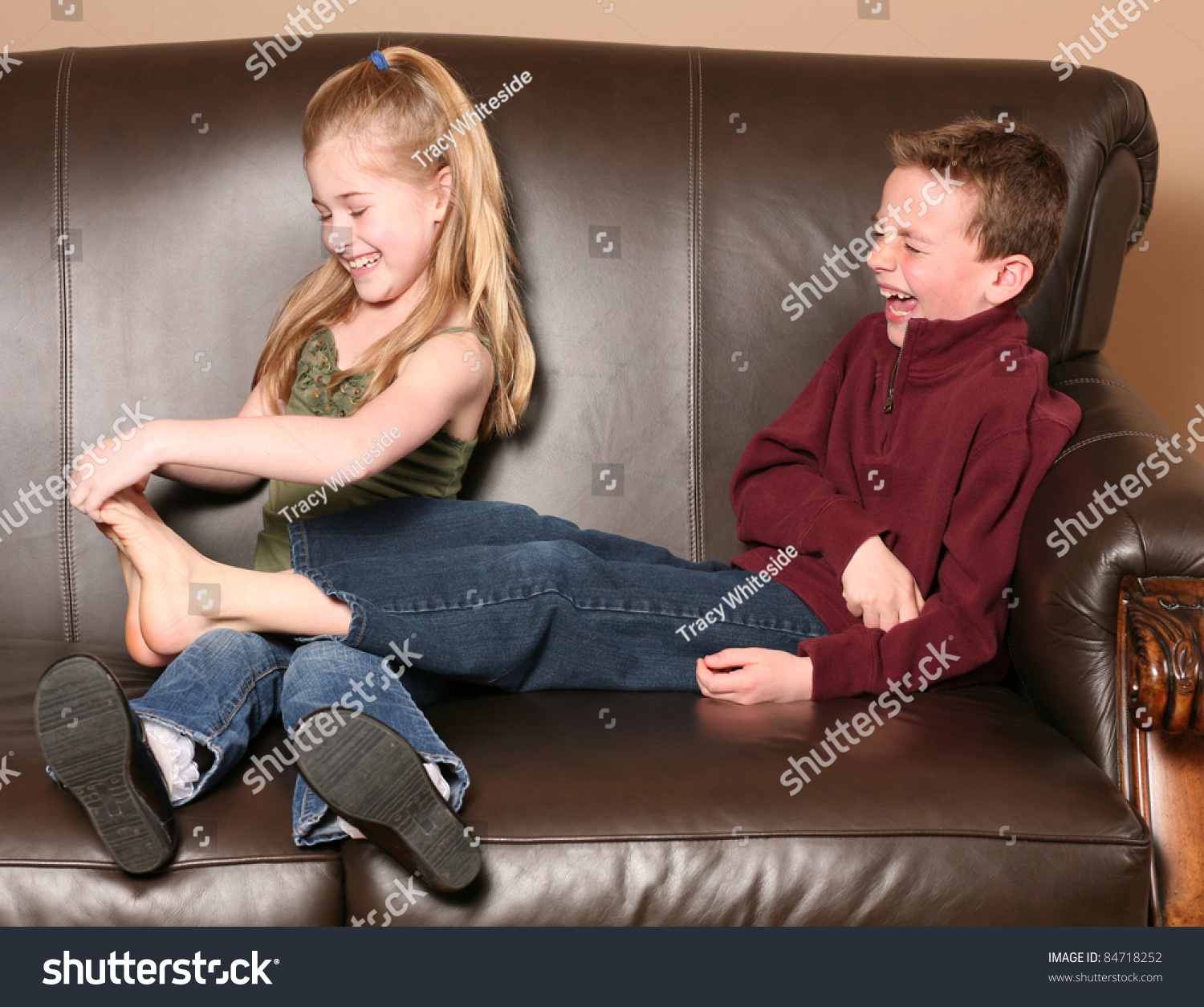 teen girl being tickled