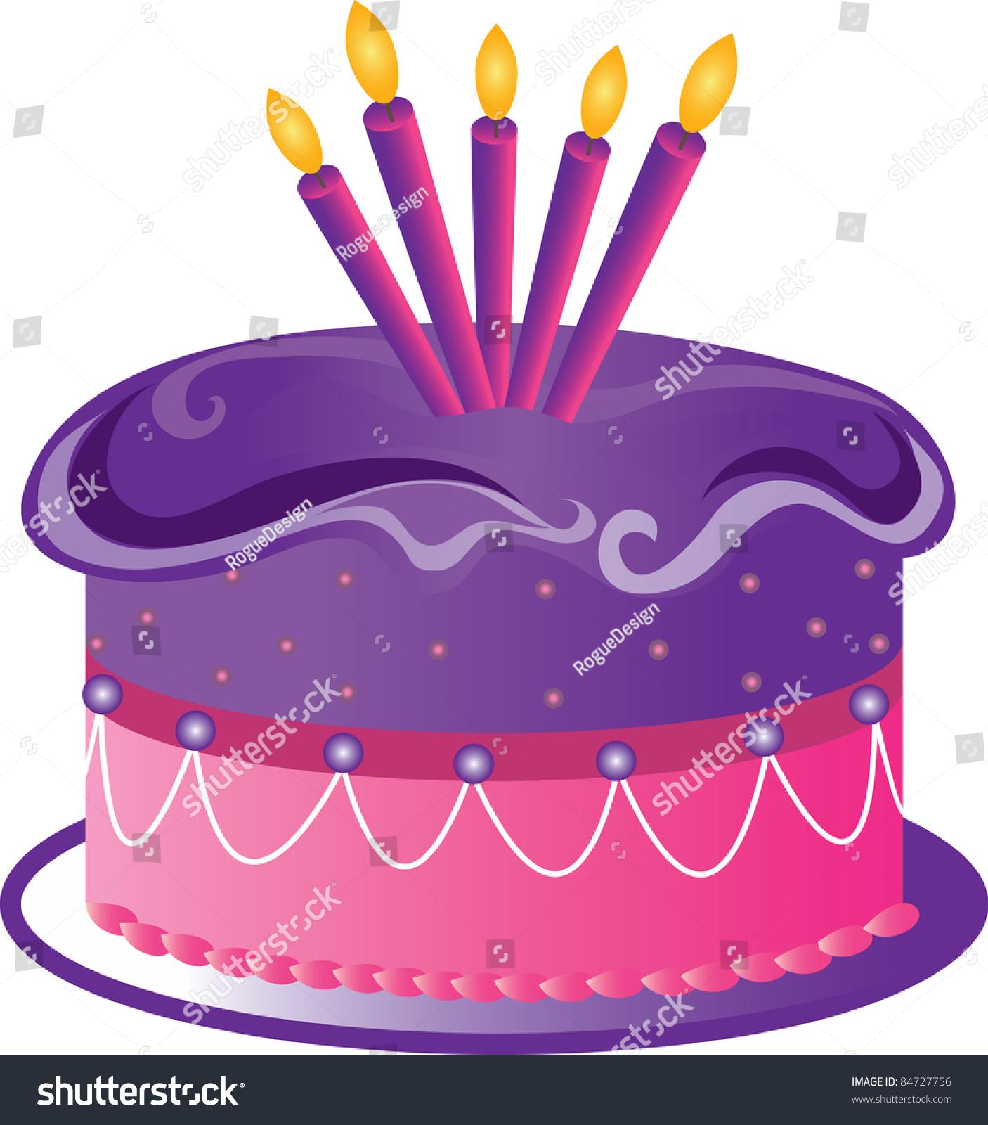 Purple Birthday Cake Clip Art