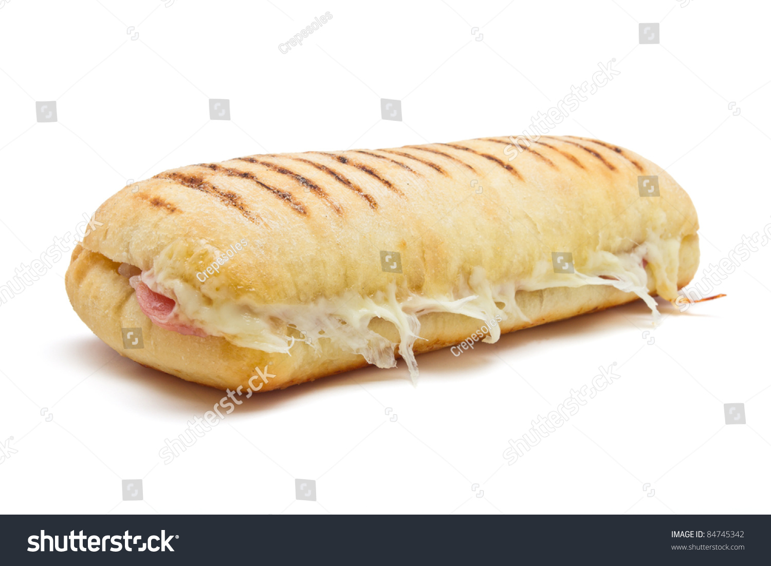 Bacon And Cheese Panini From Low Perspective Isolated On White. Stock ...