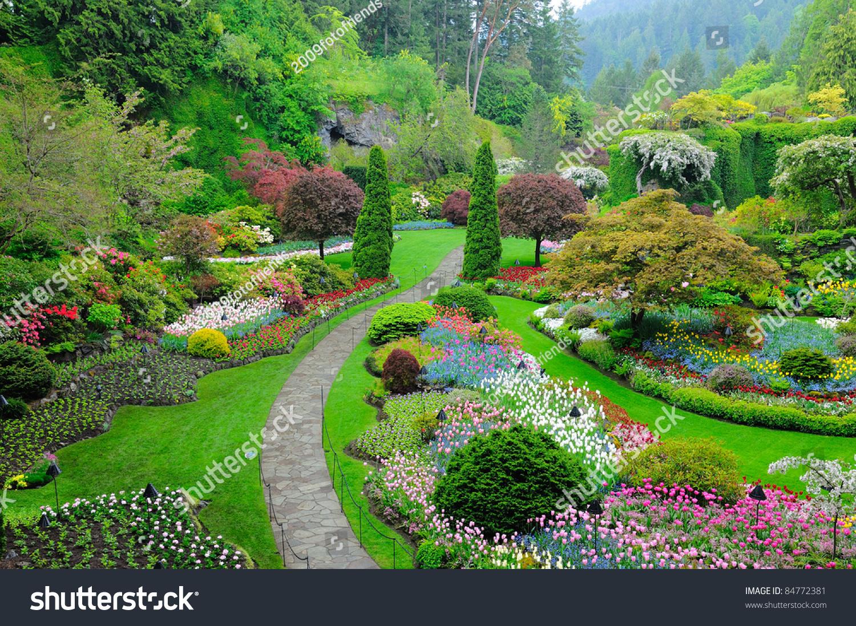 Butchart Garden Spring Victoria British Columbia Stock